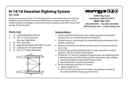 Hawaiian Righting System Hobie 16