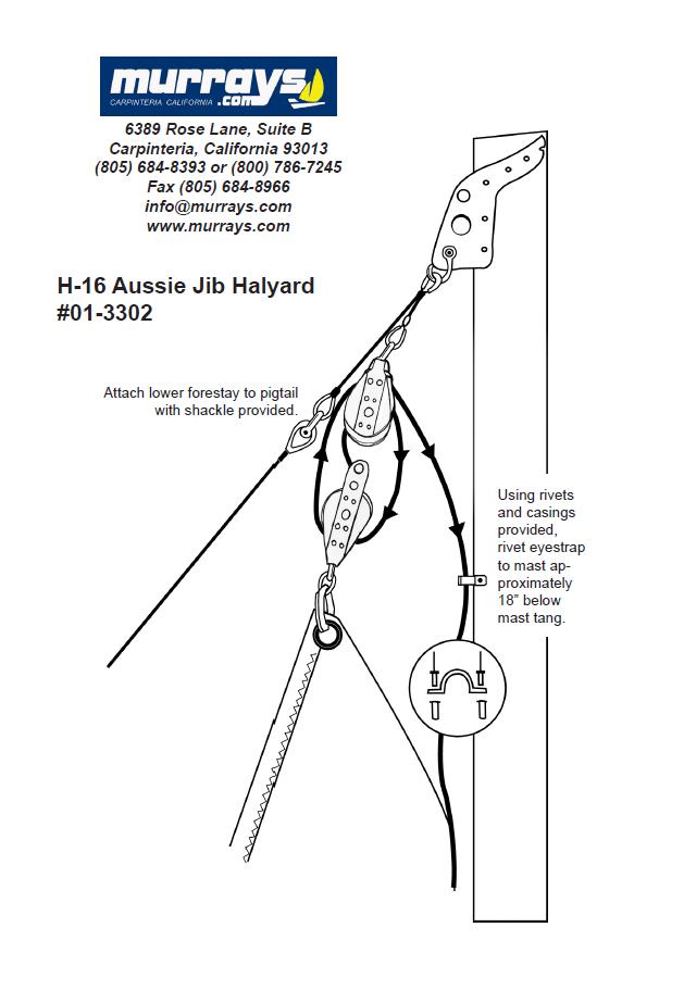 01-3302 Hobie 16 aussie jib halyard instrustions