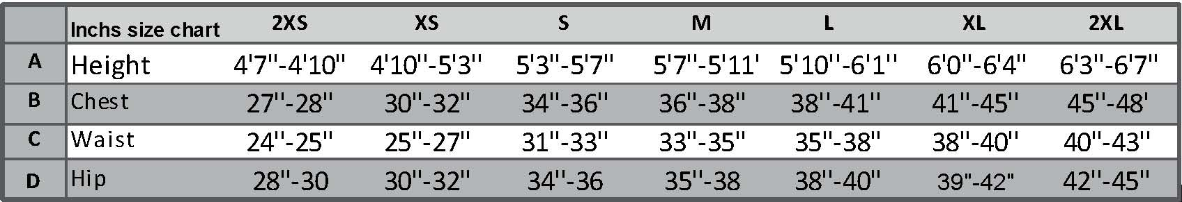 Forward WIP Sizing Chart