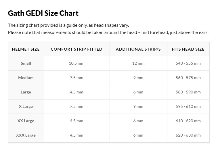 Gath Gedi Size chart