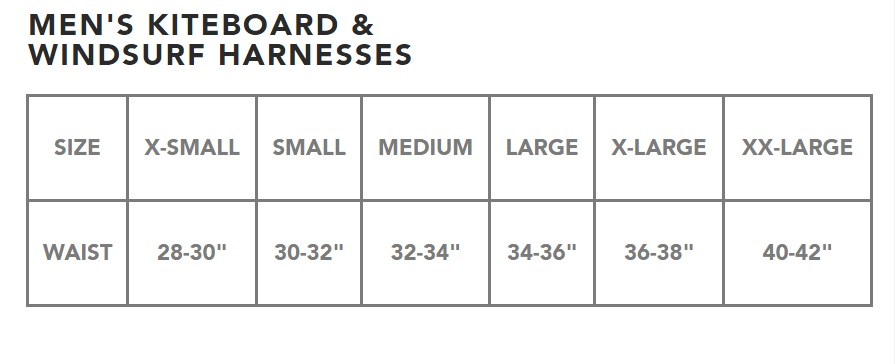 Dakine Harness Sizing Chart