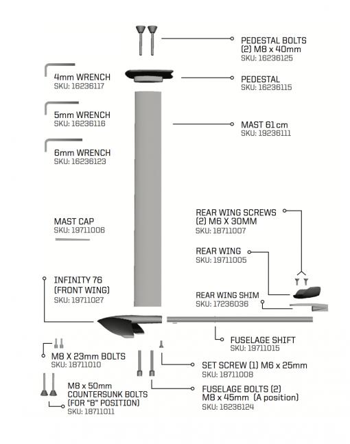 Slingshot F SURF FOIL - 76cm Infinity Wing for Kite, SUP & Surf