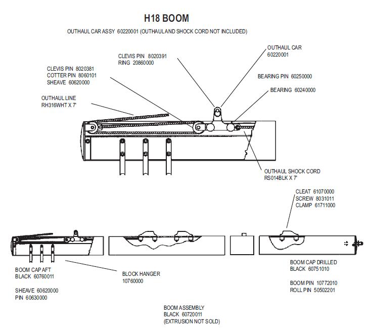 Hobie 18 Boom Parts